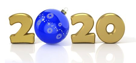 New Year 2020. Design concept with blue shiny christmas ball. 3D illustration.