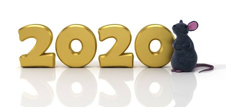 New Year 2020. Design concept with little rat symbol of year. 3D illustration. Reklamní fotografie