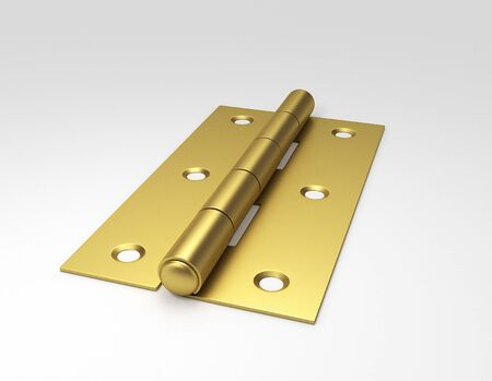 Golden door hinges. 3D illustration.