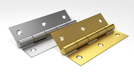 Silver and golden door hinges. 3D illustration. Reklamní fotografie