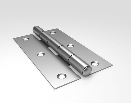 Silver door hinges. 3D illustration.