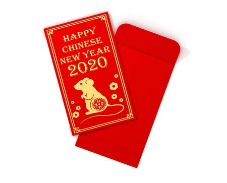 Red chinese envelope with mouse, symbol of year. 3D Illustration. Reklamní fotografie