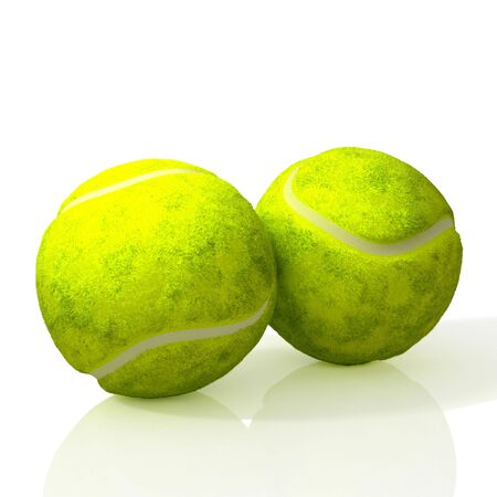 Two tennis balls. 3D illustration.