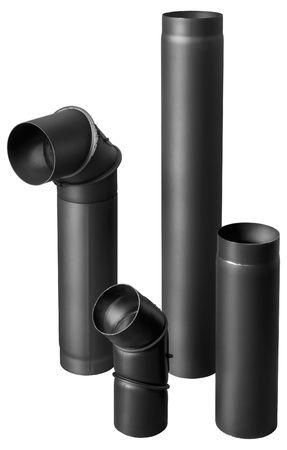 set of black metal fire-resistant pipes for fireplaces