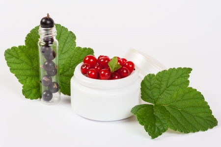 concept natural cosmetics made of redcurrant and black currant put on white background with green leafs Stock Photo