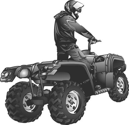 ATV のオフロード ライダー ヘルメット ジャンプするには、日没で  イラスト・ベクター素材