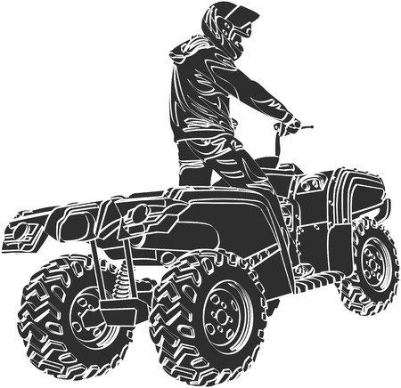 ATV off-road rider en casco saltando en la puesta del sol