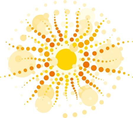 vector yellow sun with rays made from circles