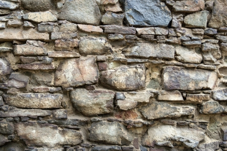 irregular texture of the old stone wall outside