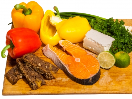 food ingredients for fish salad with salmon and bell pepper Stock Photo