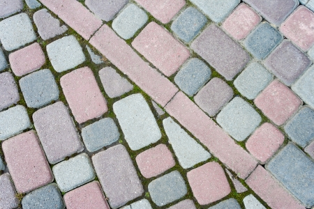 colored paving paved at an angle in the form of steps Stock Photo