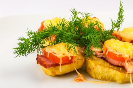 sandwiches made ​​from potatoes, bacon and cheese Stock Photo