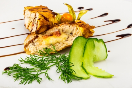 French chop with cheese stuffing and cucumber Stock Photo - 19109012
