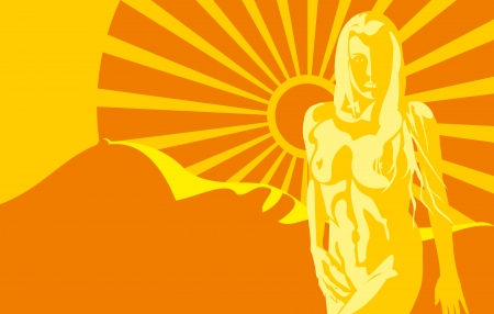 silhouette of a nude woman on a background the body in the the mountain of the sun gold rays