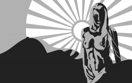 silhouette of a nude woman on a background the body in the the mountain of the sun rays