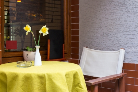 Two narcissus flower in a vase on a table in a cafe near the window photo
