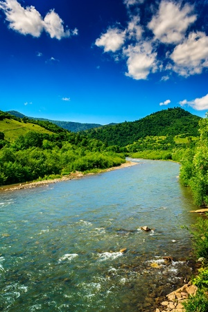 wild river flowing between green mountains on a clear summer day photo