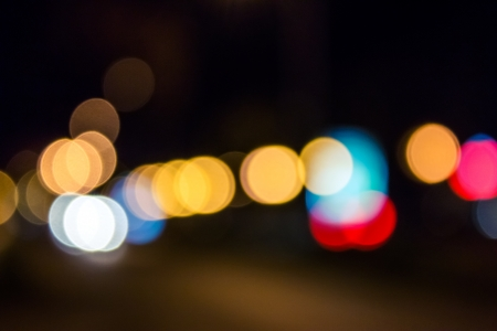 abstract blur of red and blue street lights at night photo