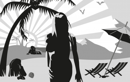 silhouette of a woman on the beach near the mountains, under a palm tree and an umbrella