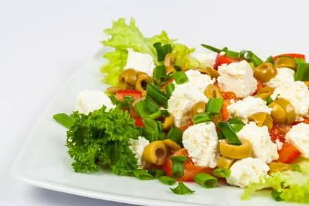 salad with olives pepper and feta cheese Stock Photo