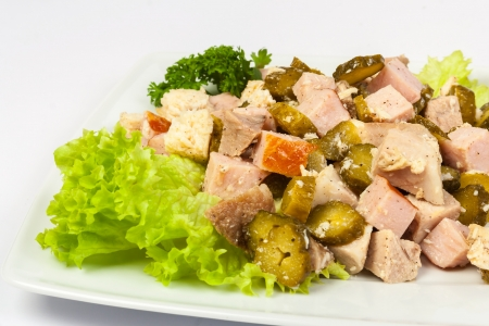 salad with bacon and pickled cucumbers