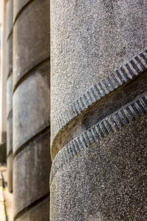Gallery thick concrete columns with a spiral pattern Stock Photo