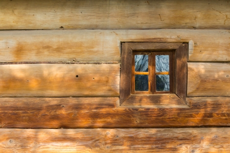 window of the old wooden house Stock Photo