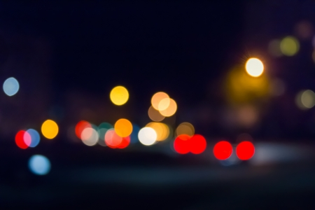 abstract blur of street lights of the night city Stock Photo