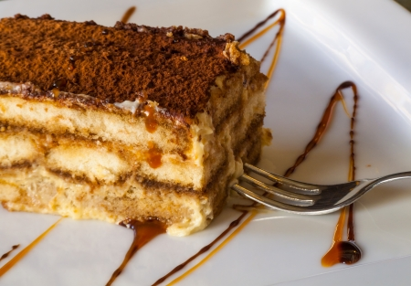 a huge chunk of the traditional  Italian, unforgettably delicious, rich and sweet tiramisu cake with cinnamon, caramel, honey and dessert fork