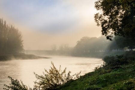 foggy autumn morning on the river