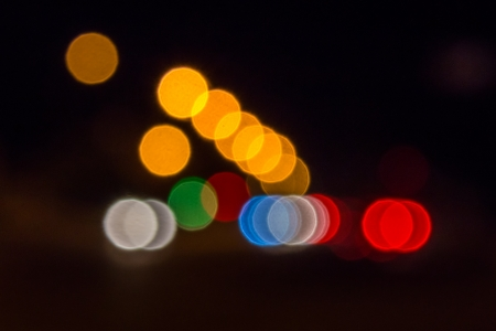 abstract blur of night lights formed a triangle