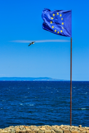 waving European flag is set on a stone strengthening, next to the sea shore. seagulls flying around the flag. can be seen borders of the island in the sea near the horizon.