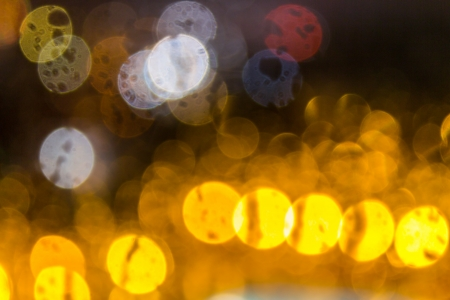 plurality of color abstraction blurry lights of different diameters with distortions