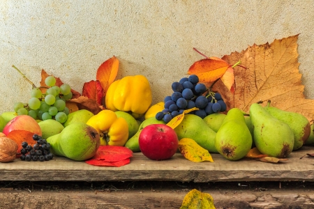 autumnal fruit still life with apples, pears, nuts, quince, grapes and leaves on wooden base Stock Photo