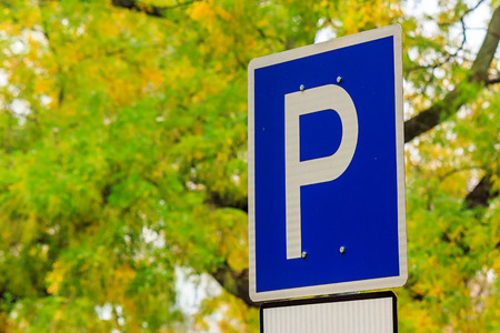 element of the urban landscape. road sign - parking on a background of yellow foliage in the park