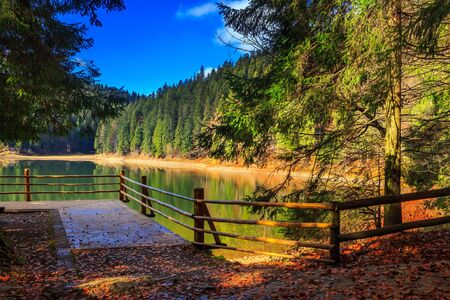 boat ramp on the Lake in mountain near coniferous forest Stock Photo