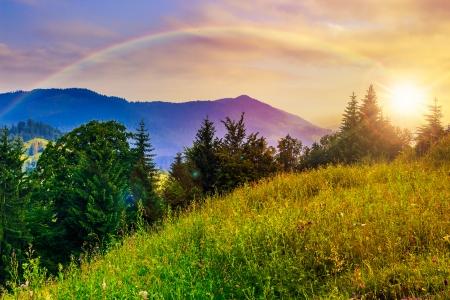 Les rayons du soleil levant au-dessus d'une haute montagne