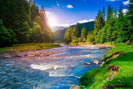 fiume vicino bosco ai piedi del monte Archivio Fotografico