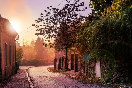 morning old town curvy cobbled street