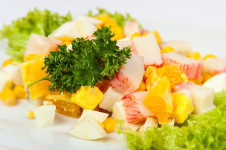 egg salad with sweet corn and crab sticks