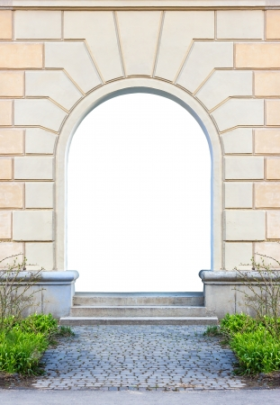 empty Frame of desolate immured doorway with steps of cut stone Stock Photo