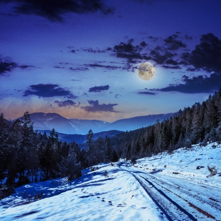 winter night mountain landscape. winding road that leads into the pine forest covered with snow.