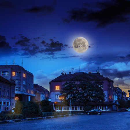area of ​​the old city near the park wrapped by cobbled street at night in moon light Stock Photo
