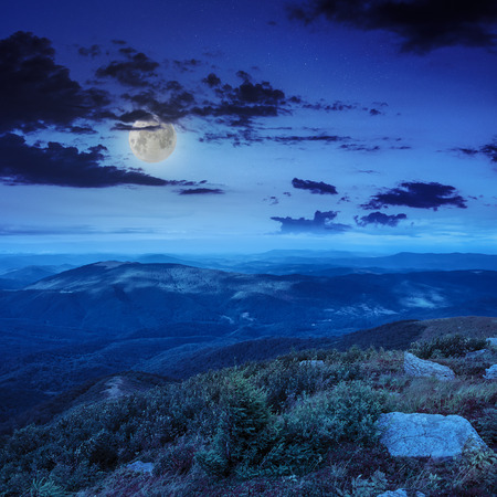 mountain landscape. valley with stones on the hillside. forest on the mountain under the moon light falls on a clearing at the top of the hill at night.