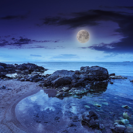 sea shore landscape with boulders sand and seaweed at night in moon light