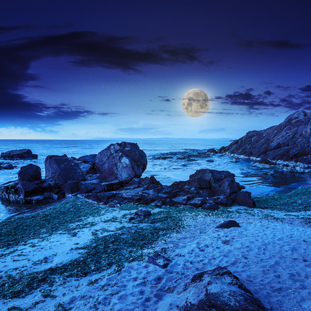 sea wave attacks the sandy beach and break on them at night in moon light