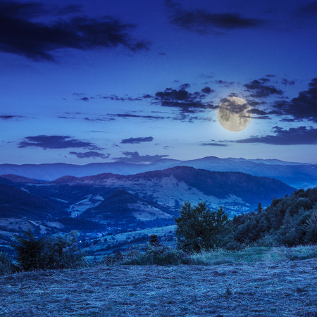 summer landscape. village on the hillside. forest on the mountain moon light fall on clearing on mountains at night Stock Photo