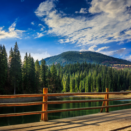 view from pier on lake near the pine forest on mountain background Stock Photo