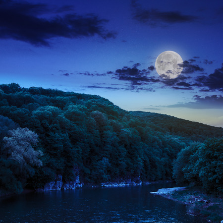 calm river flowing between green mountains on a dark summer night in moon light photo