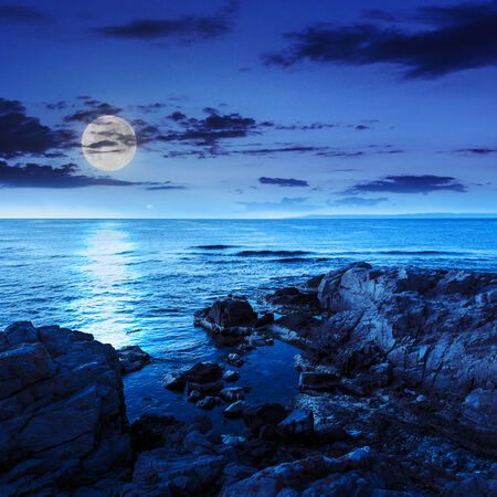 calm sea with fiev waves on coast with  boulders and seaweed at night in moon light Stock Photo